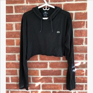 Lacoste cropped lightweight hooded long sleeve